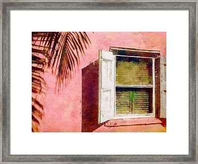 Window In Pink Island House - Horizontal Framed Print by Lyn Voytershark