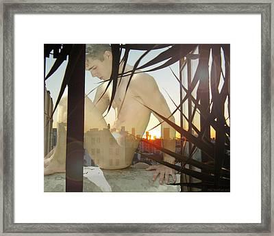 Window Ledge Ghost Boy Framed Print