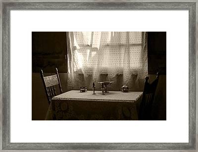 Window Light - Table - Chairs Framed Print by Nikolyn McDonald