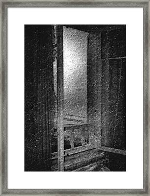 Window Ocean View Black And White Digital Painting Framed Print by Cathy Anderson
