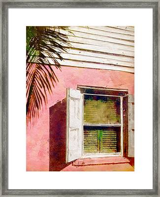 Window Of Pink Island House - Vertical Framed Print