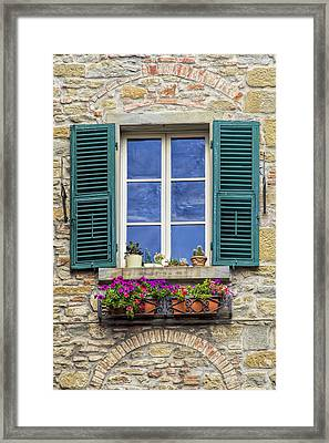 Window Of Tuscany With Green Wood Shutters Framed Print
