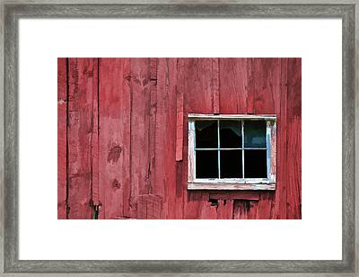 Window On A Red Barn Framed Print