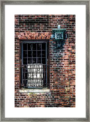Window On A Red Brick Wall Framed Print