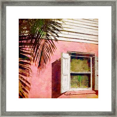 Window On Pink Island House - Square Framed Print