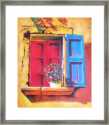 Window On The Rue In Roussillon France Framed Print by Susi Franco
