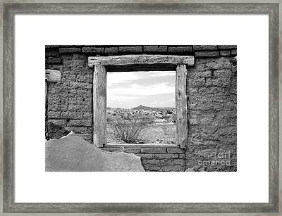 Window Onto Big Bend Desert Southwest Black And White Framed Print