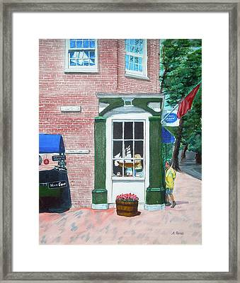Window Shopping Newburyport Framed Print by Anthony Ross