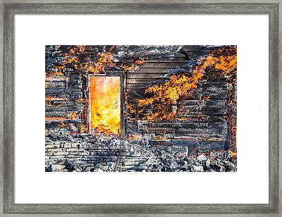 Window Thru The Depth Of Firey Fury Framed Print by Andrew Slater
