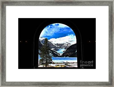 Window To Paradise Lake Louise Framed Print by Leslie Kirk