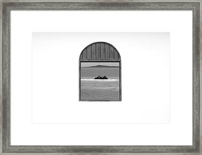Window View Of Desert Island Puerto Rico Prints Black And White Framed Print by Shawn O'Brien
