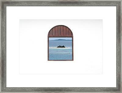 Window View Of Desert Island Puerto Rico Prints Framed Print by Shawn O'Brien
