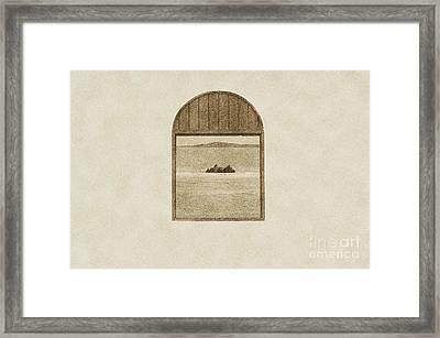 Window View Of Desert Island Puerto Rico Prints Vintage Framed Print by Shawn O'Brien