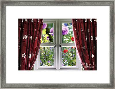 Window View Onto Wild Summer Garden Framed Print