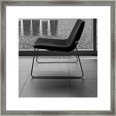 Window View With Chair In Black And White Framed Print