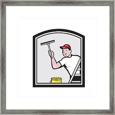 Window Washer Cleaner Cartoon Framed Print by Aloysius Patrimonio