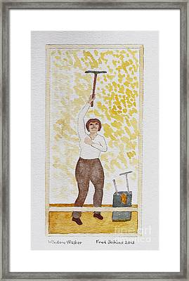 Window Washer Framed Print by Fred Jinkins