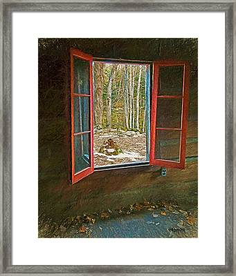 Window With View Abandoned Elkmont Log Cabin Autumn Framed Print by Rebecca Korpita