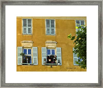 Framed Print featuring the photograph Windowboxes In Nice France by Allen Sheffield