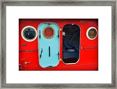 Windows And Doors On The Big Red Tug Framed Print by Carol Toepke