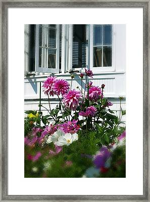 Windows And Flowers Framed Print by Randy Pollard