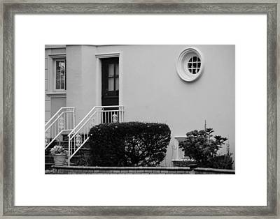 Windows In The Round In Black And White Framed Print by Rob Hans