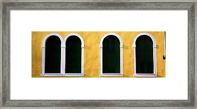 Windows In Yellow Wall Venice Italy Framed Print