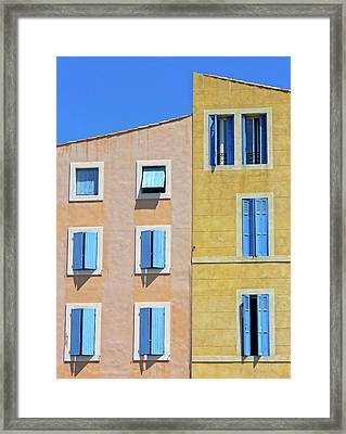 Framed Print featuring the photograph Windows Martigues Provence France by Dave Mills