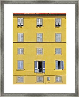 Windows Of Florence Against A Faded Yellow Plaster Wall Framed Print