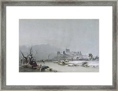 Windsor Castle From The Thames, 19th Century Framed Print