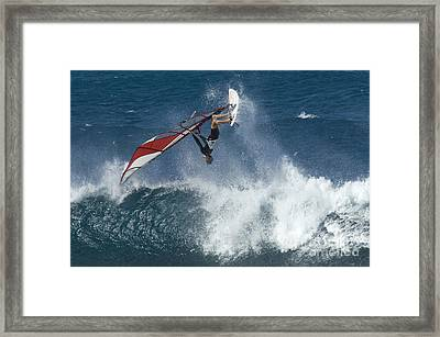 Windsurfer Hanging In Framed Print by Bob Christopher