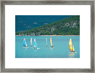 Windsurfers On The Lake, Lac De Sainte Framed Print by Panoramic Images