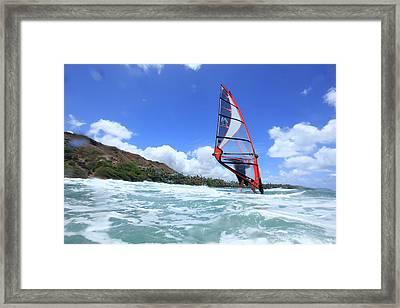 Windsurfing, Diamond Head, Waikiki Framed Print by Douglas Peebles