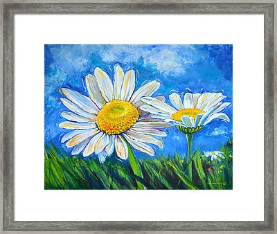 Windswept Daisies Framed Print