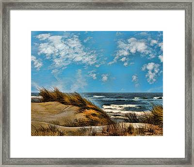 Windswept Dunes And Rising Tides  Framed Print by Elaine Plesser