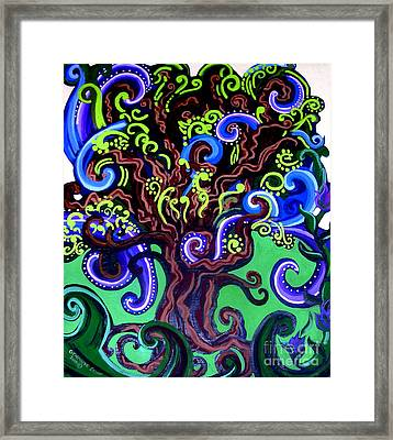 Windy Blue Green Tree Framed Print by Genevieve Esson
