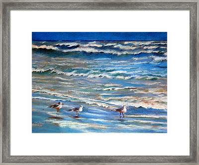Windy Day At The Gulf    Pastel    Framed Print by Antonia Citrino