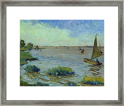 Windy Day On The Elbe Framed Print by Richard Dreher