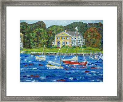 Windy Seaport Framed Print by Andrea A Patrick