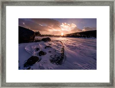 Framed Print featuring the photograph Windy Sunrise by Steven Reed