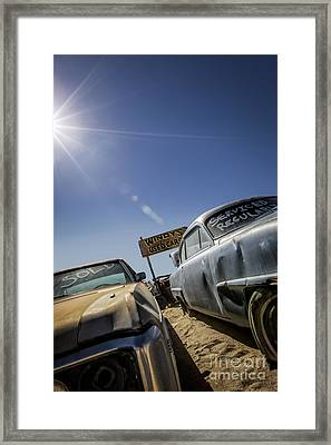 Windy's Used Cars- Metal And Speed Framed Print by Holly Martin