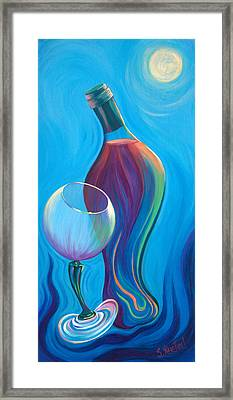 Framed Print featuring the painting A Wine Affair by Sandi Whetzel