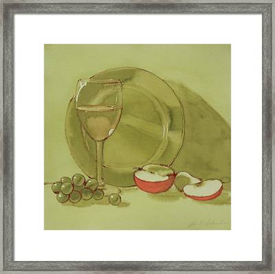 Wine And Apple Framed Print