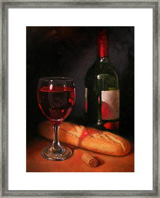 Wine And Baguette Framed Print by Timothy Jones