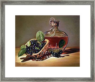 Wine And Berries Framed Print by Natasha Denger