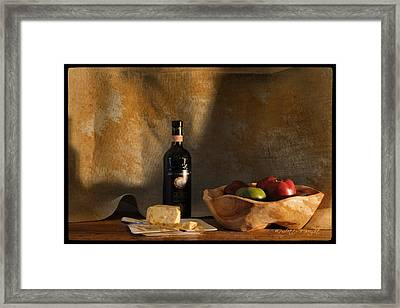 Wine And Cheese 1 Framed Print by Paulette B Wright