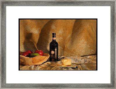 Wine And Cheese 2 Framed Print by Paulette B Wright