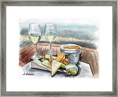 Wine And Cheese Framed Print by Jana Goode