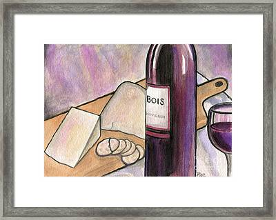 Wine And Cheese Tonight Framed Print by Roz Abellera Art