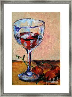Wine And Cherries Framed Print